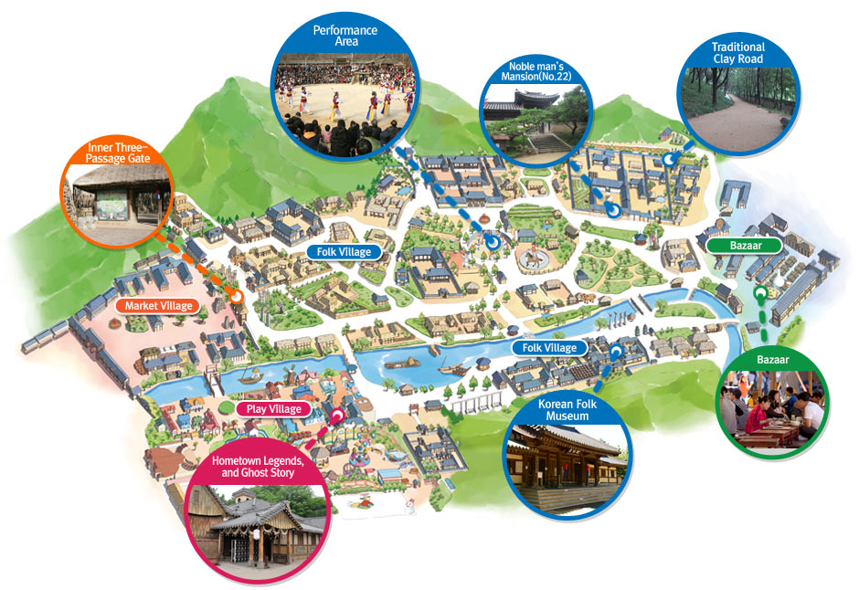 Seoul Korea Map In English.Guide Map Korean Folk Village